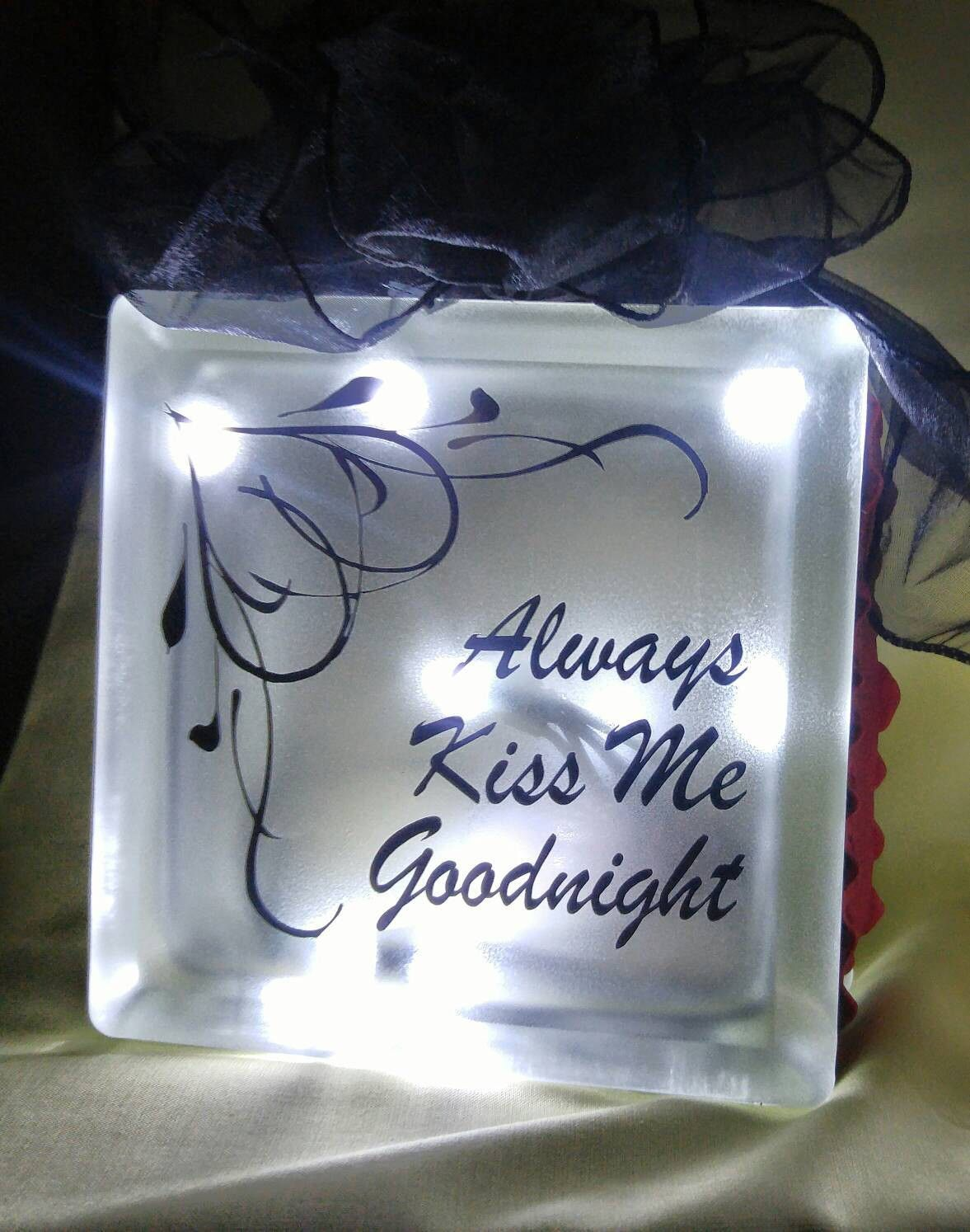 Always Kiss Me Frosted Lighted Glass Block Night Light Girl Friend Gift Wife Anniversary