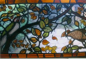 'Birds and beech tree', private commission, 2005 by Rachel Mulligan, (Associate: of The British Society of Glass Painters), 76 George Road – Farncombe – Surrey – GU7 3LX  Tel:01483 42726    Mobile:07970 052104     email: rachel.mulligan@talk21.com web: www.rachelmulligan.co.uk