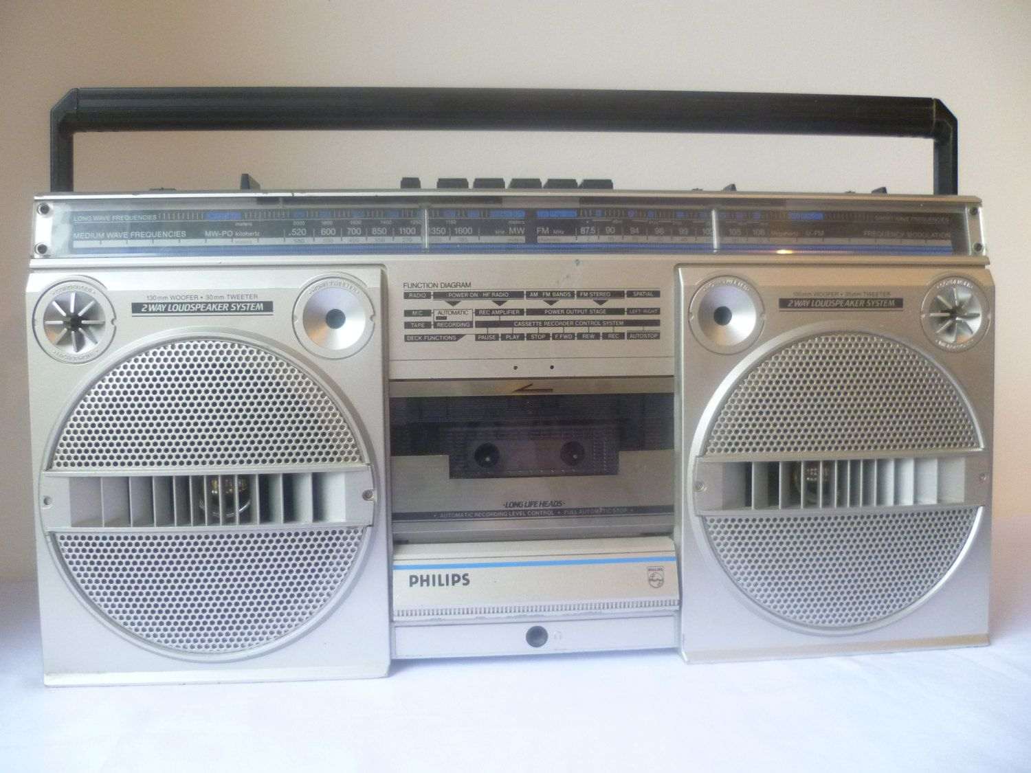 Philips d8134 ghetto blaster magnavox stereo vintage 1980 by mwkirkonetsy on - Philips ghetto blaster ...