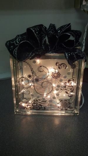 String Lights For Glass Blocks : Glass block light by patti Use a battery operated string of lights inside a glass vase, some ...