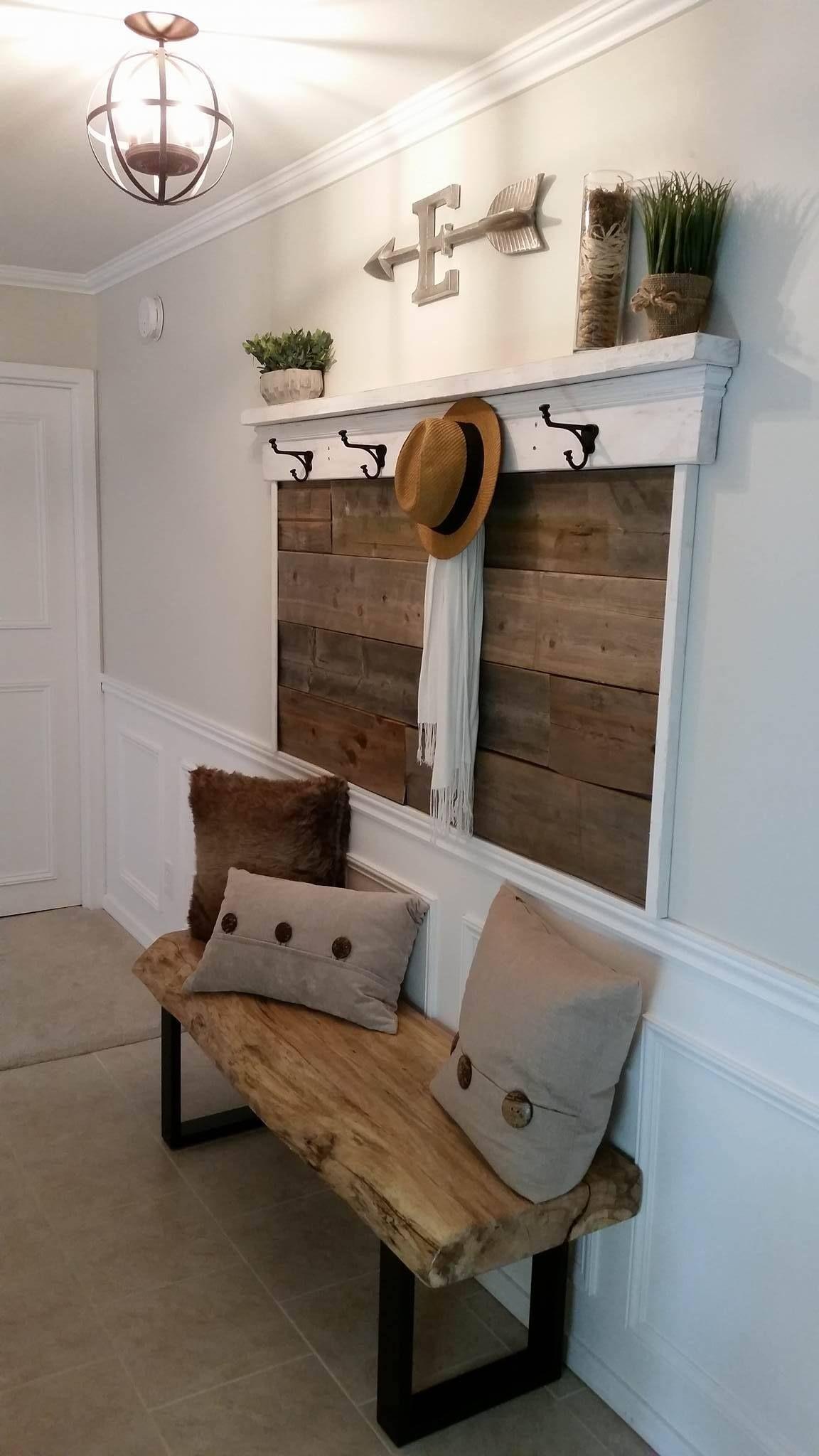 Hallway furniture coat rack  Hallway Renovation Farmhouse entry hallway Live edge slab bench