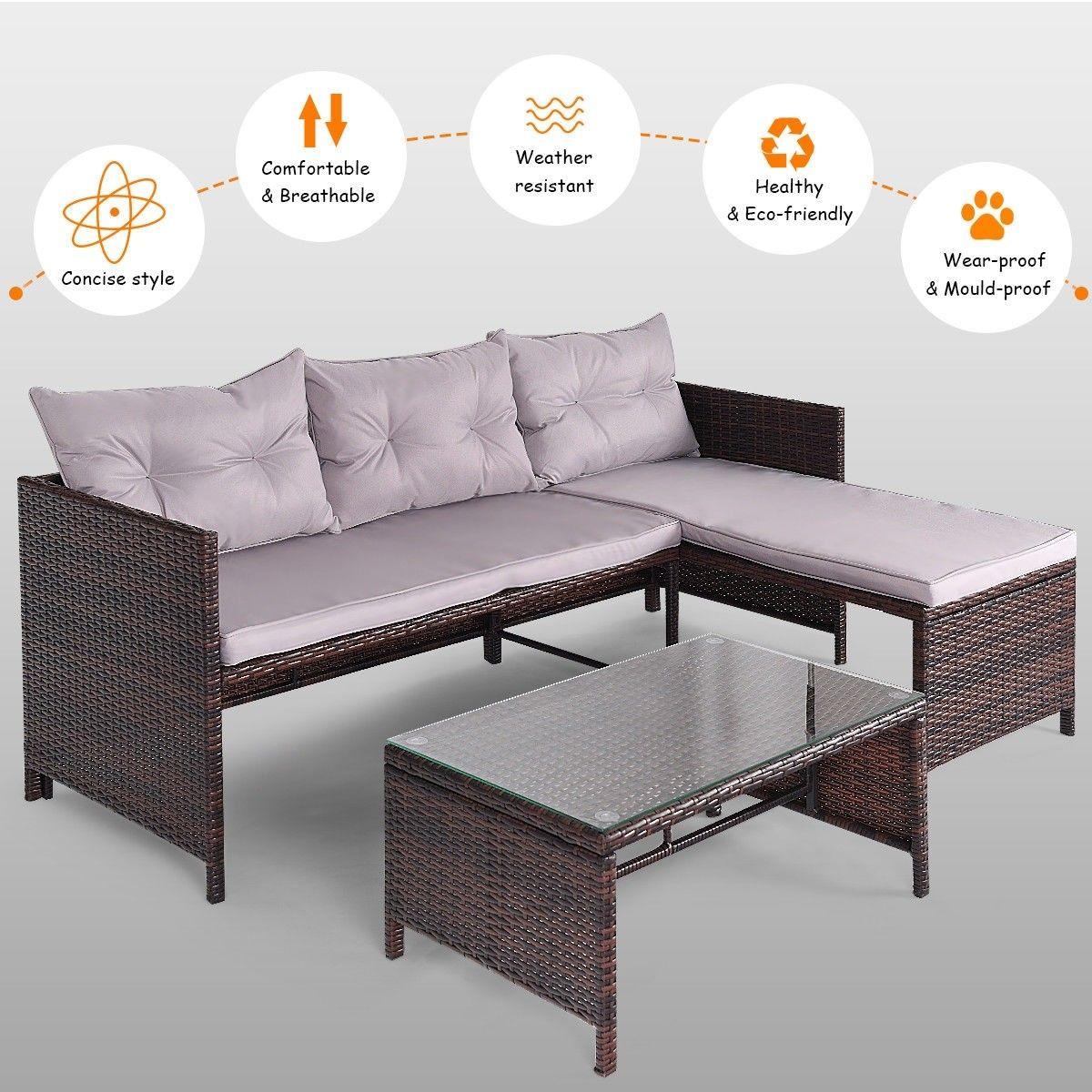 3 Pcs Rattan Wicker Deck Couch Outdoor Patio Sofa Set Color Mix