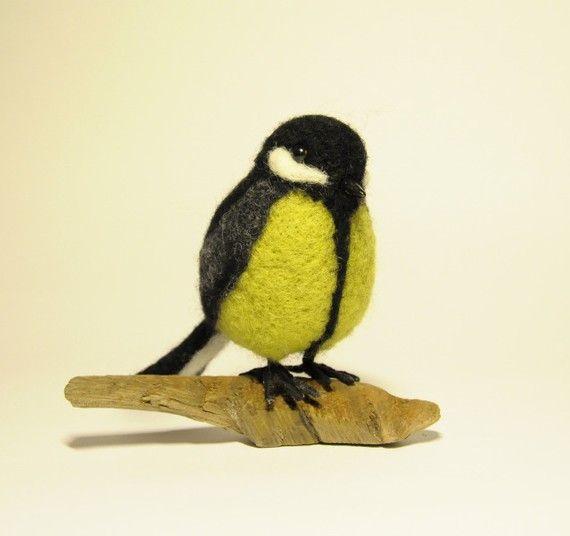 Handgemachte Gefilzte wolle Vogel Blaumeise von BinneBear auf Etsy