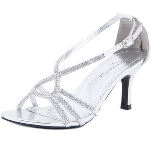 Womens new wedding bridal au silver low heels sandals ladies party ...