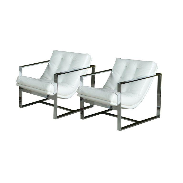 Swell Pair Of Milo Baughman Chrome And White Leather Cube Chairs Creativecarmelina Interior Chair Design Creativecarmelinacom