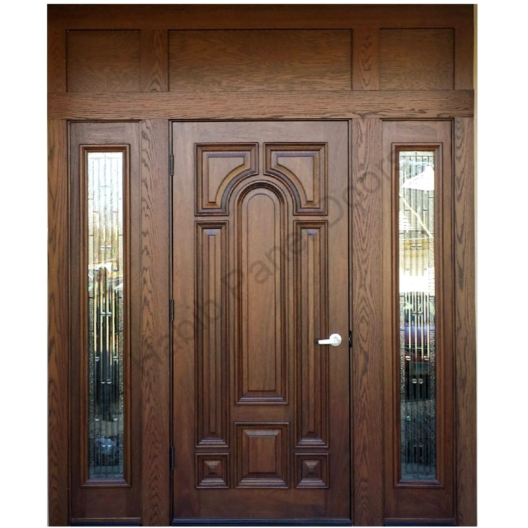 Ash wood door with frame hpd416 solid wood doors al for Decorative main door designs