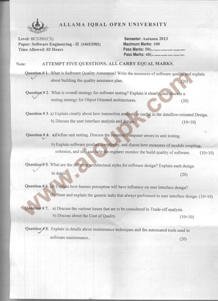 AIOU BSCS Old Papers Code 3465 Software Engineering-II - Autumn 2014