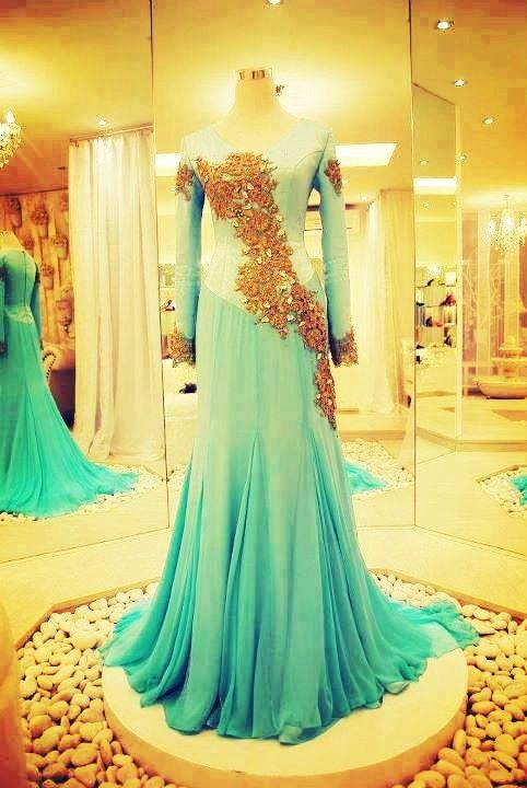 Long sleeve indo western dress for wedding reception for Long dress for wedding reception