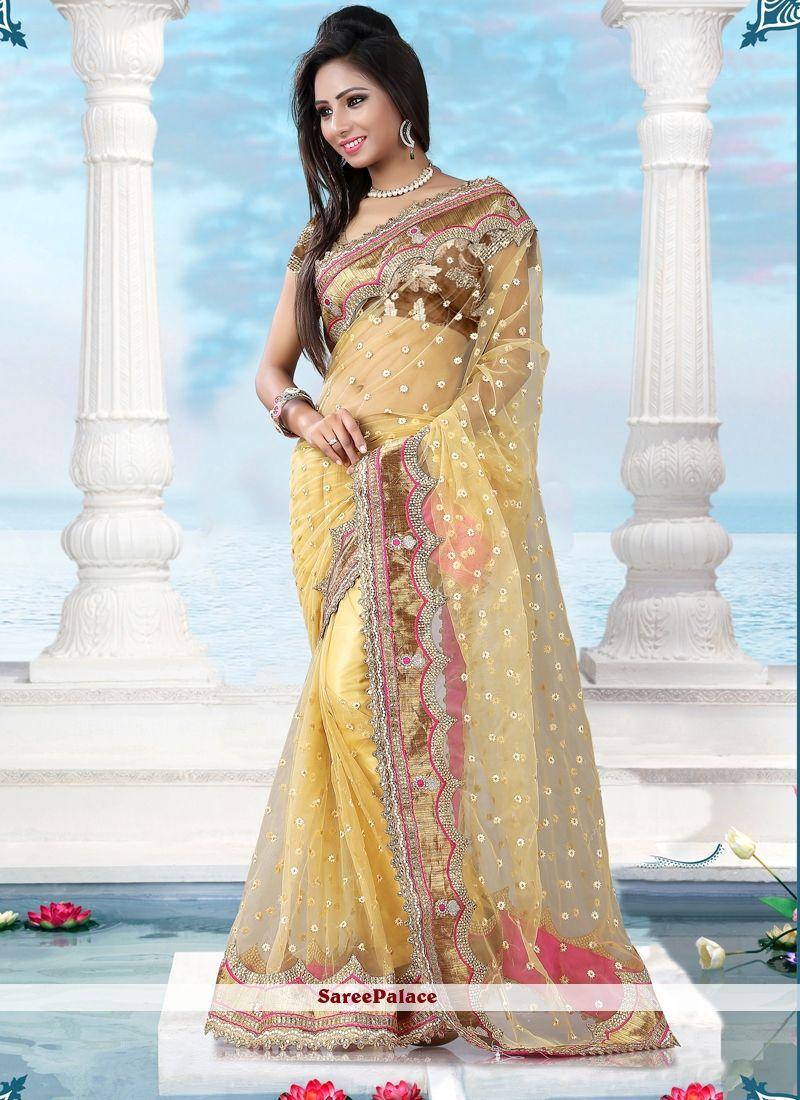 Stupendous Yellow Designer Saree