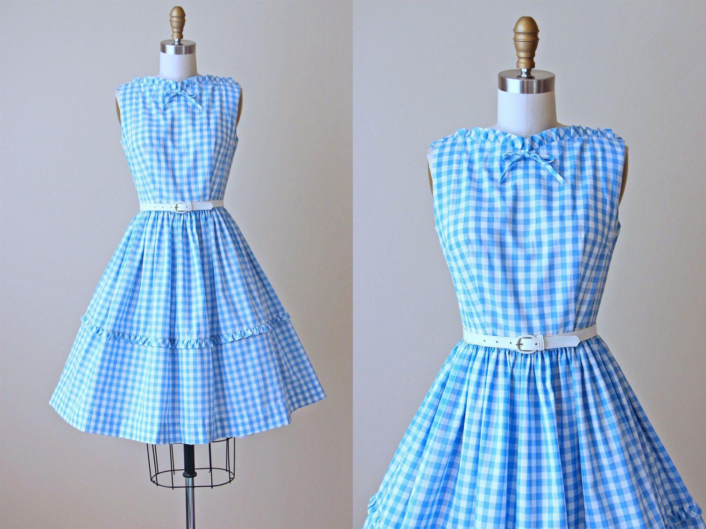 50s Dress - Vintage 1950s Dress - Blue Gingham Plaid Cotton Full ...