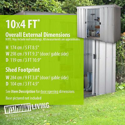 New 5x4 6x4 8x4 10x4 Ft Galvanised Metal Lean To Pent Garden Steel Shed Tin Steel Sheds Shed Lean To