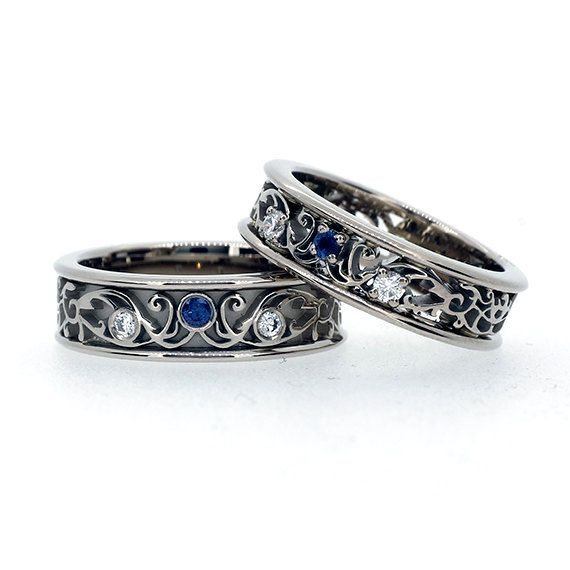 Filigree Wedding Band Set With Blue Sapphires And Diamonds Matching Ring Unique Men Sapphire
