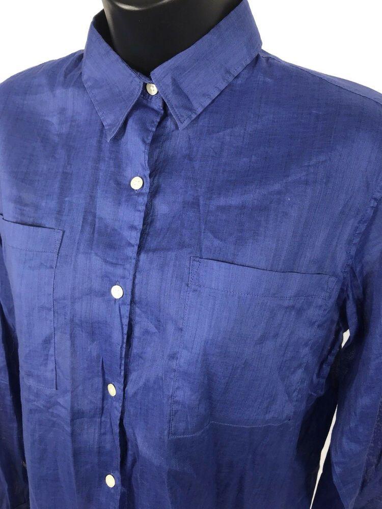 f5fd8cabb GAP Shirt Womens Size L Large Blue Sheer Ramie Cotton Blend Long Sleeve  Button #fashion