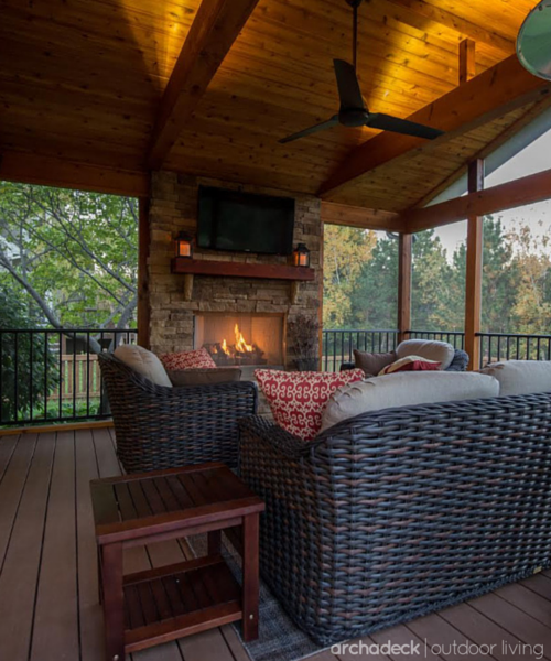 This Screen Porch Was Designed With Tongue And Groove Cedar Ceiling Cedar Trimmed Beams And Azek Synthetic Flo House With Porch Porch Fireplace Deck Fireplace