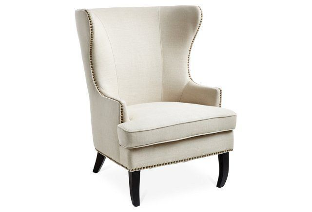 Addison Wingback Chair, Oatmeal Linen | home sweet home | Pinterest ...