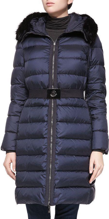 10a9b2f8b Moncler Fabrege Fur-Trim Puffer Coat, Navy   Bluz   Bluz