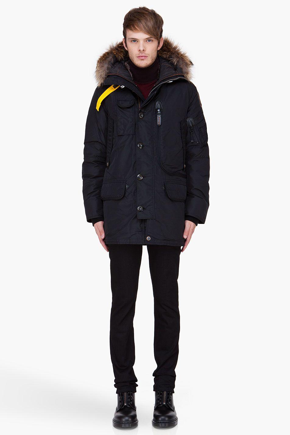 9fb6a83005 PARAJUMPERS Black Raccoon Fur Trim Kodiak Coat