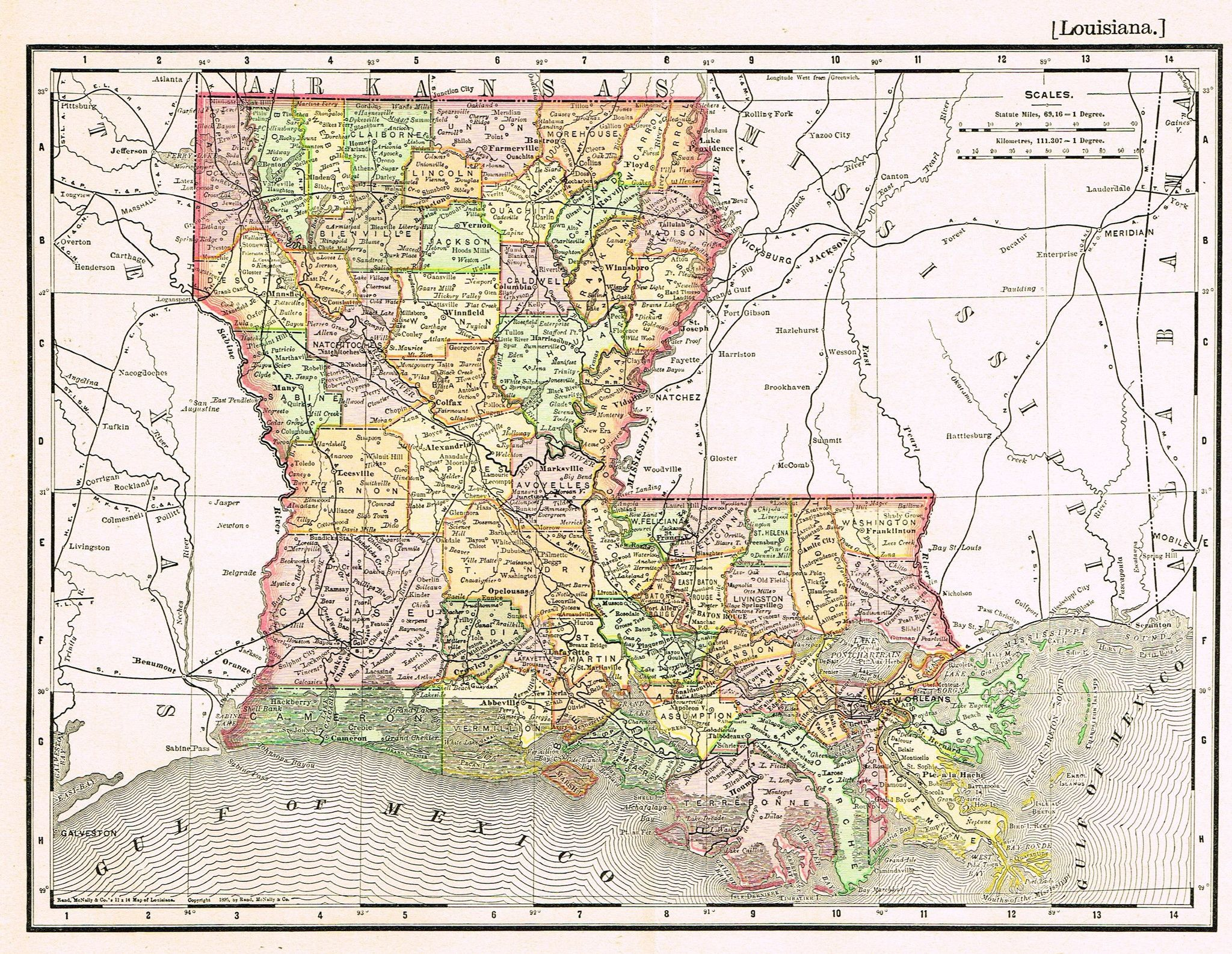 Rand Mcnally S Atlas Map Louisiana Chromo Lithogrpah 1895