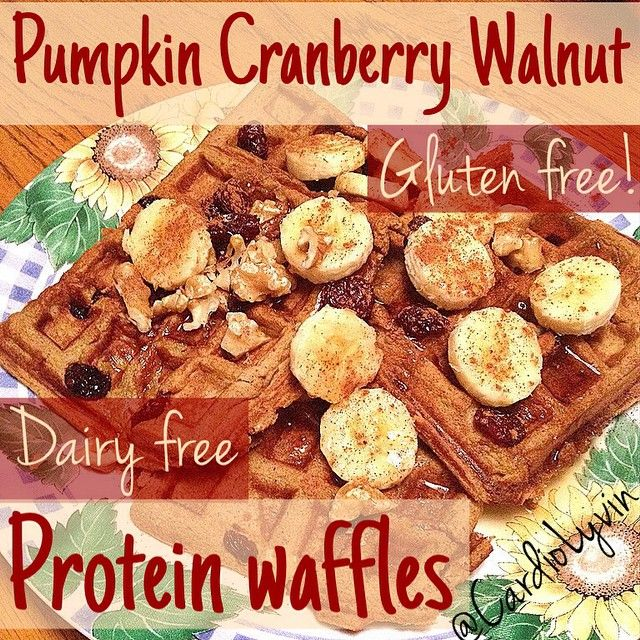 FALL FAVORITES: Gluten-free Pumpkin Cranberry Walnut Protein Waffles Perfect for the Fall!