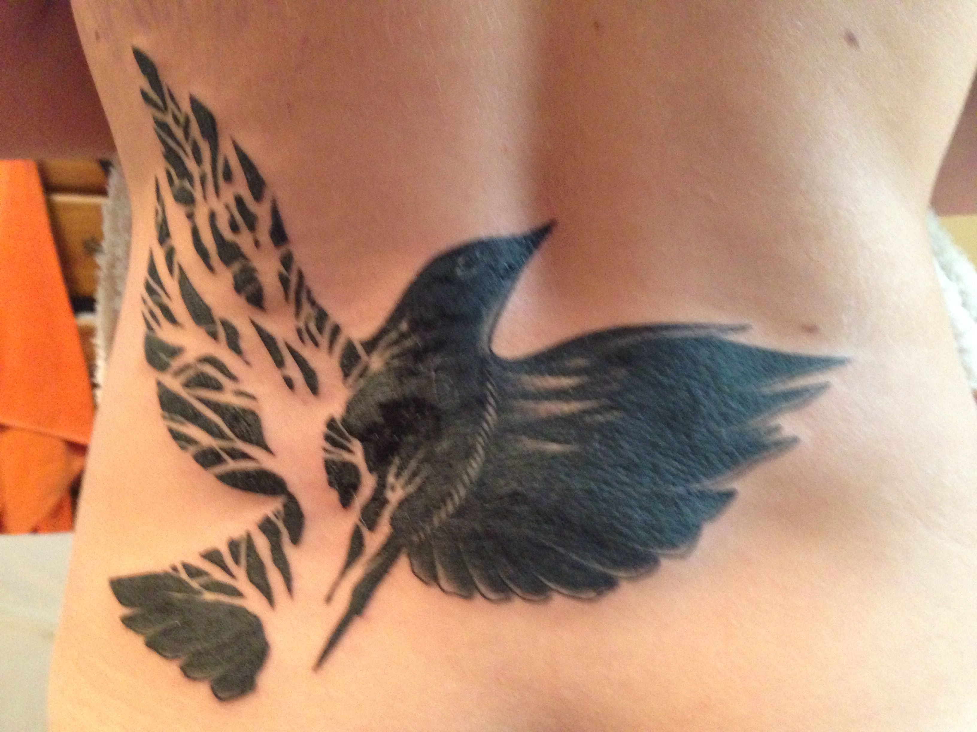 Dead Tree Bird Wing Cover Up Tattoo