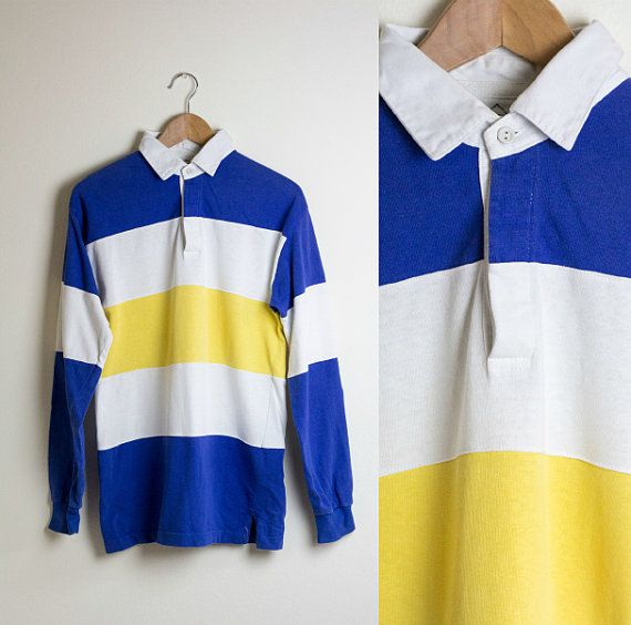 Striped Rugby Shirt Blue White Yellow