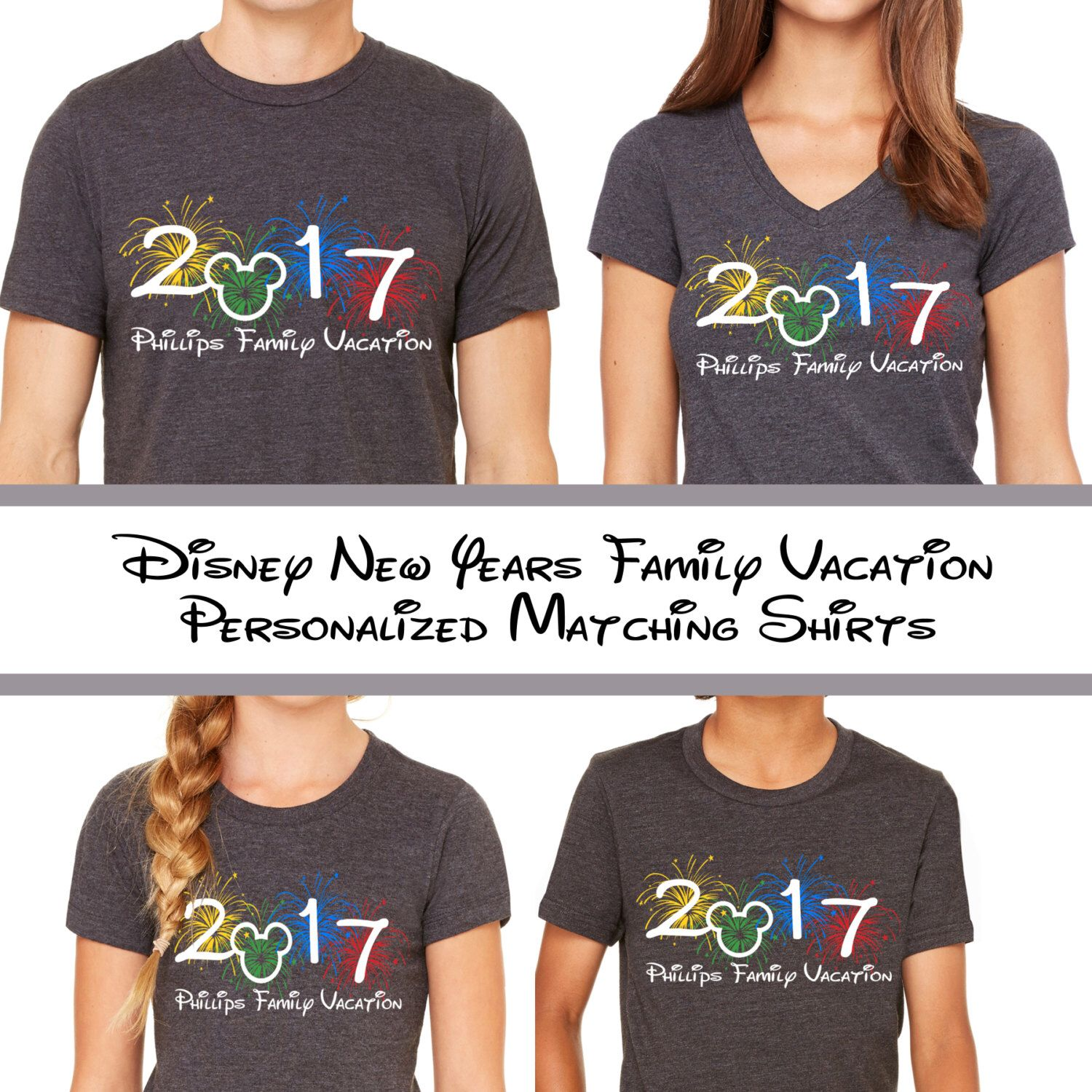Disneyland new year family vacation matching tees 2017 for Custom t shirts family vacation