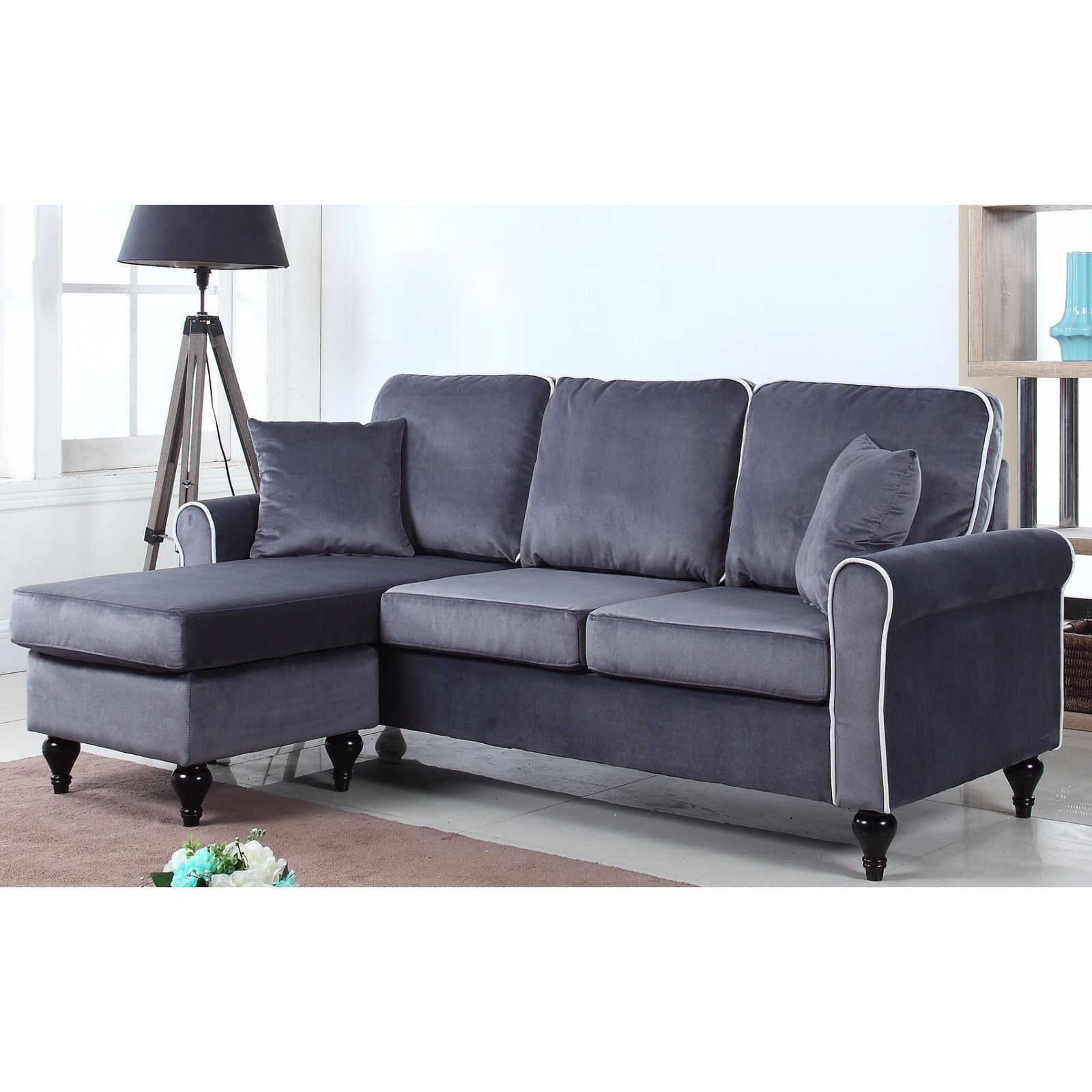 Traditional Small Space Velvet Sectional Sofa With Reversible Chaise Small Sectional Sofa Sectional Sofa Small Sectional Couch