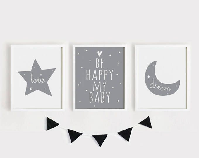 Happy Dreaming Love / Star Moon Herz / Kinderzimmer Kunst Set 3 Poster Baby Kunst Kind Kinderzimmer Wand Dekor minimal grau und weiß druckbare Kunst