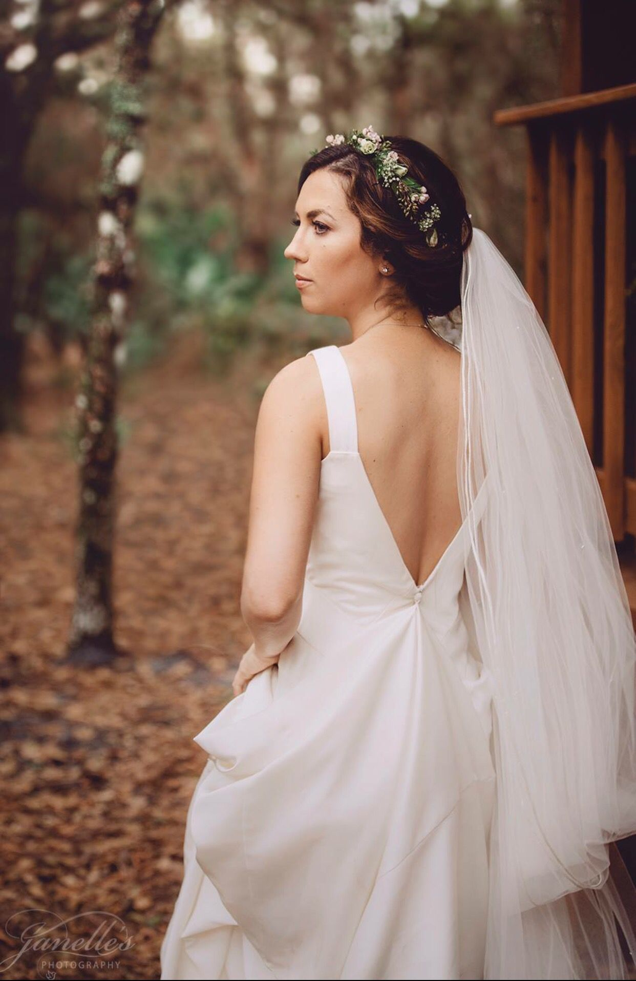 Flower Crown With Cathedral Veil Open Back Wedding Dress Bridal