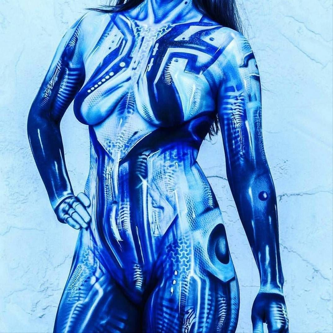 Art Photography: Bodypainting   Cortana cosplay, Halo