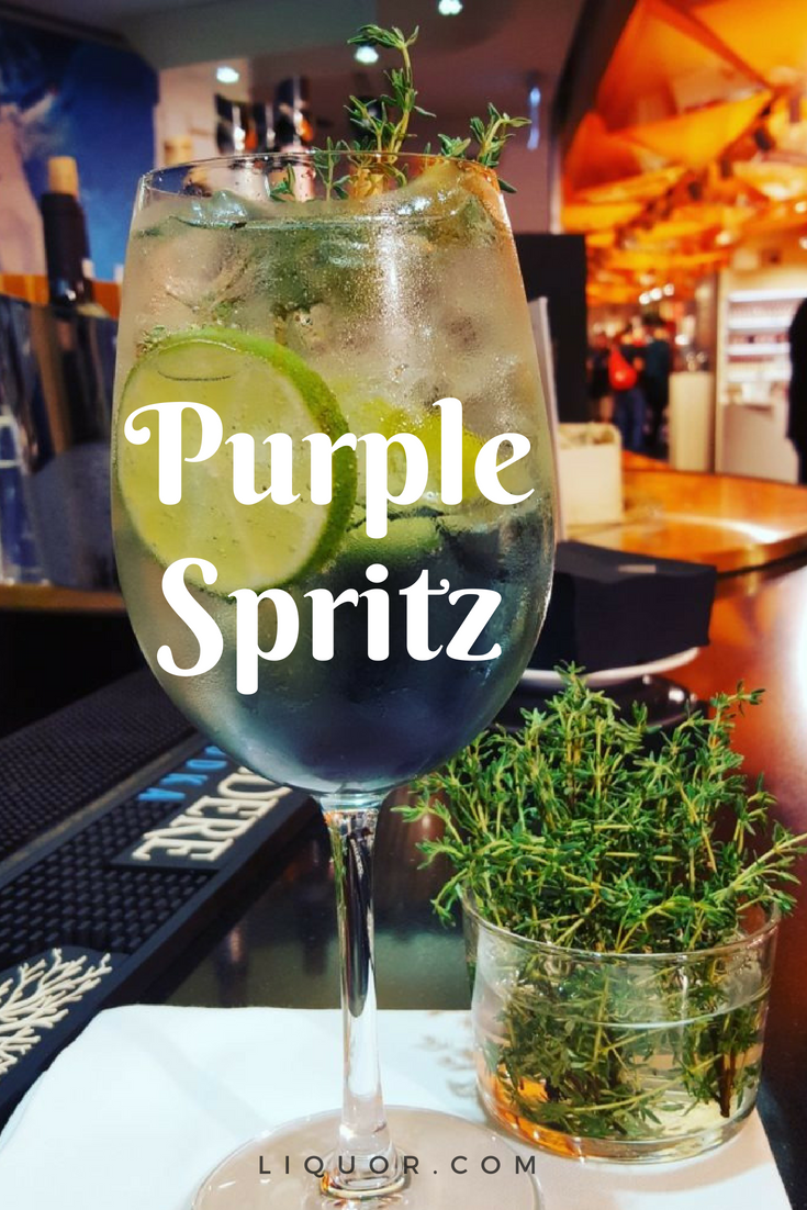 This Gin Spritz Recipe Is Summertime Sunshine In A Glass Using Complex Ingredients For Flavor The Purple Spritz Is A Delicious Spritz Recipe Spritz Cocktails