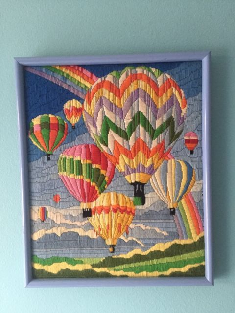Vintage Hot Air Balloon Embroidered Crewel Large Framed Tapestry Wall Art Embroidery Wall Art Embroidered Wall Art Framed Embroidery