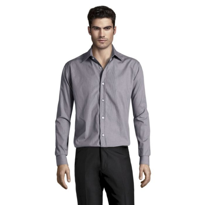 Slim Fit Shirt In Solid Charcoal.