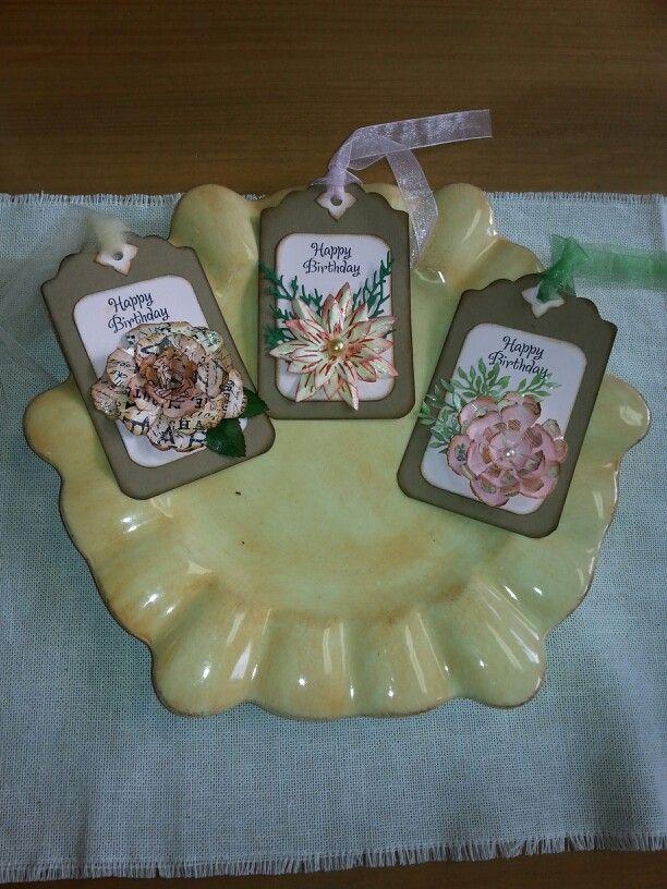 Vintage style tags- perfect for gift bags! Gorgeous flower embellishments