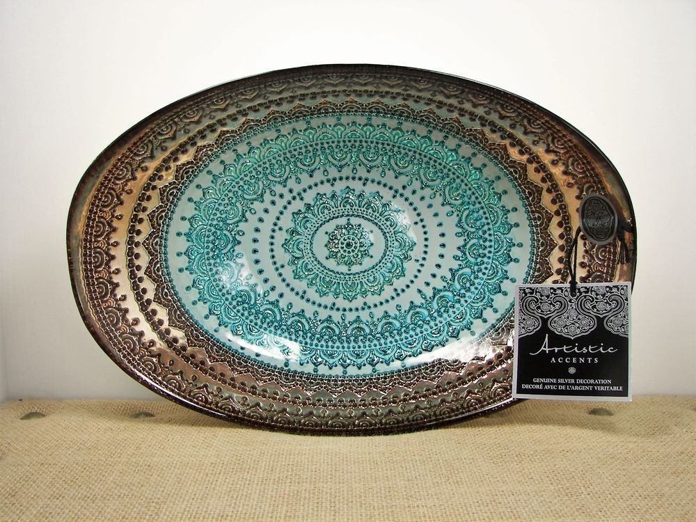 Artistic accents turkish glass bowl genuine silver