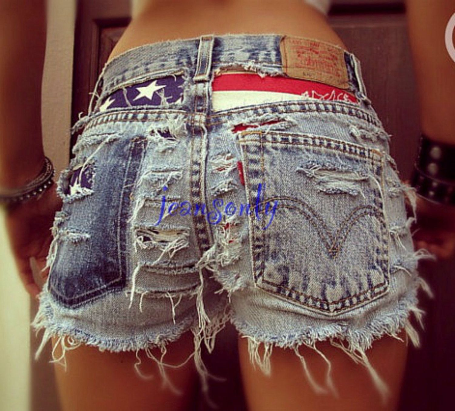 a49627e2ce American flag clothing Levi high waisted American flag shorts distressed  destroyed denim 4th / Fourth of