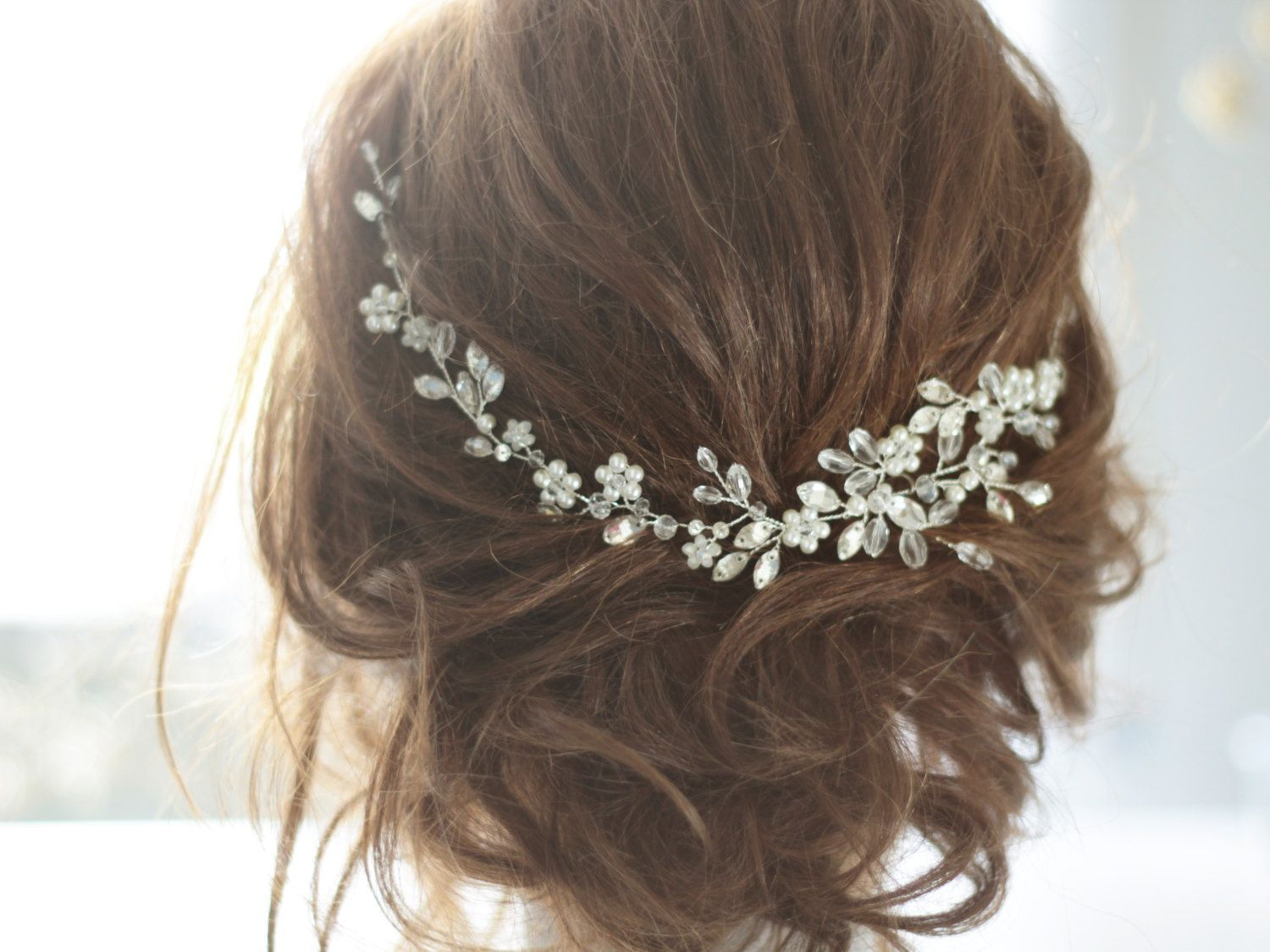 Bridal headpiece crystal bridal hair piece cristal and pearl