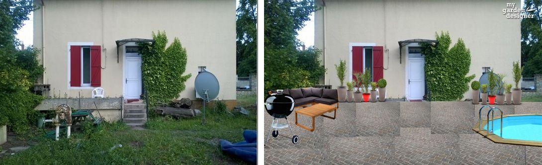 amenagement de cour de maison avant apres avec le logiciel gratuit