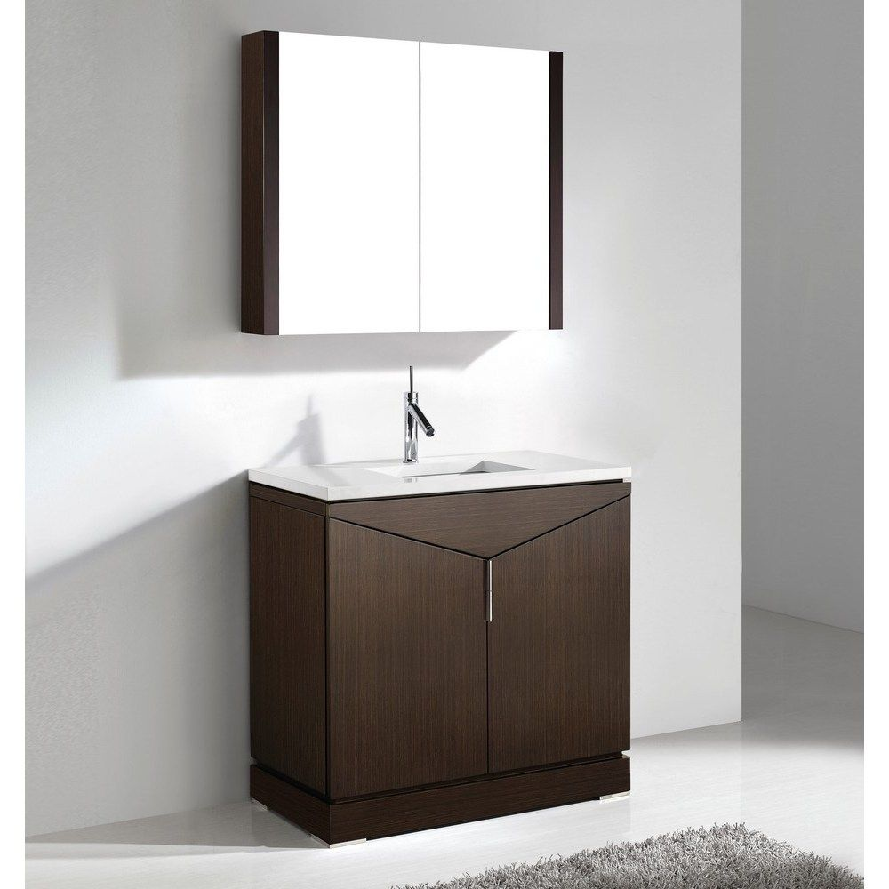 "Savona Walnut 36"" Modern Single Bathroom Vanity by Madeli ..."