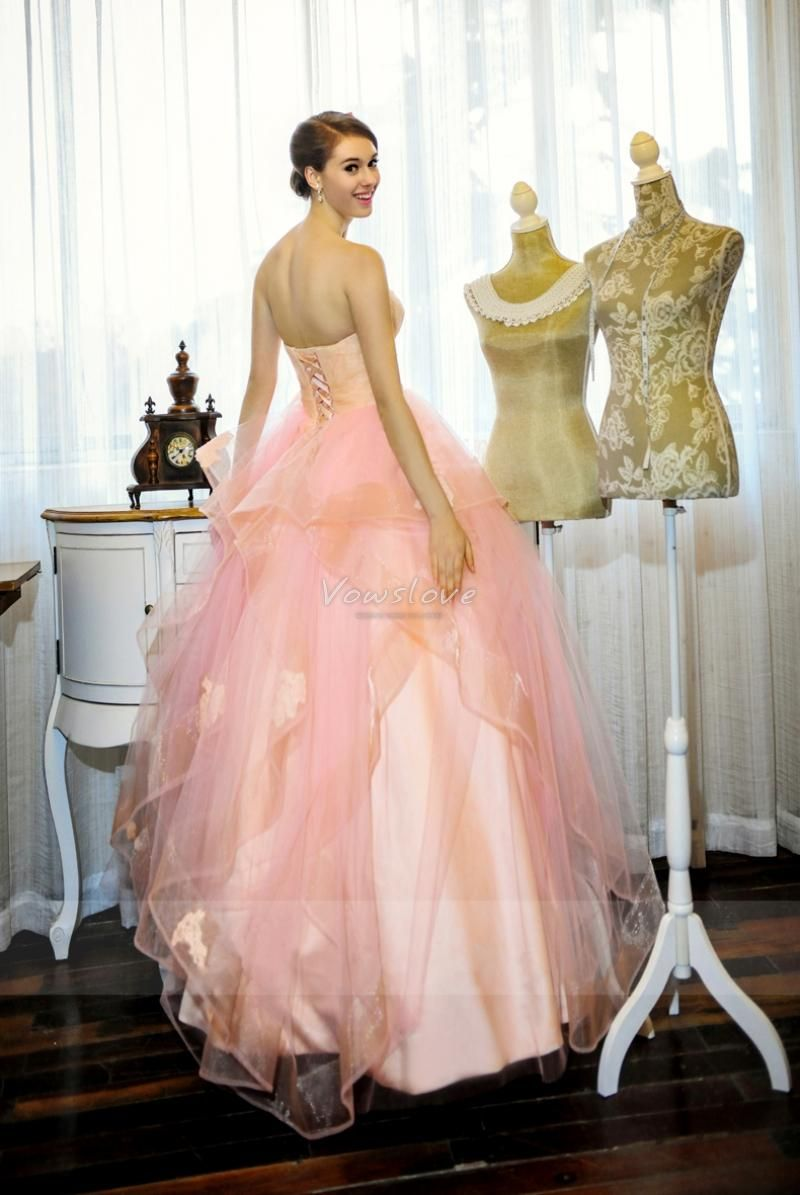 2015 Ball Gown Wedding Dress Pink Ruffled Organza Lace Up Back With ...