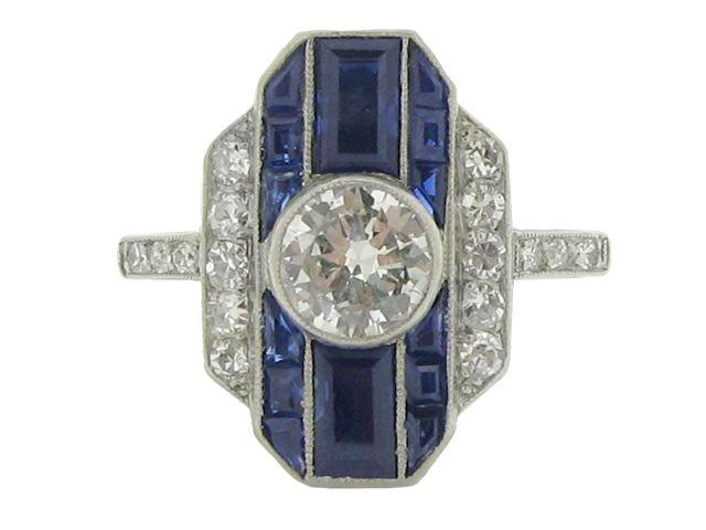 Art Deco sapphire and diamond ring, circa 1930 from Berganza London Hatton Garden