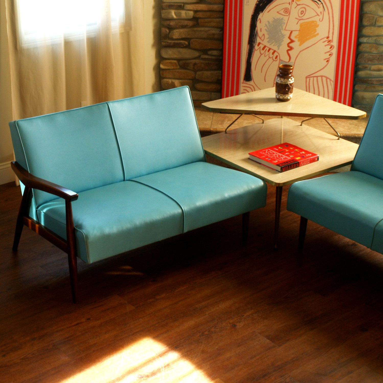 50s vintage danish modern sectional sofa lovely 1950s mid century modern furniture aqua walnut lounge style 2 piece chicago listing
