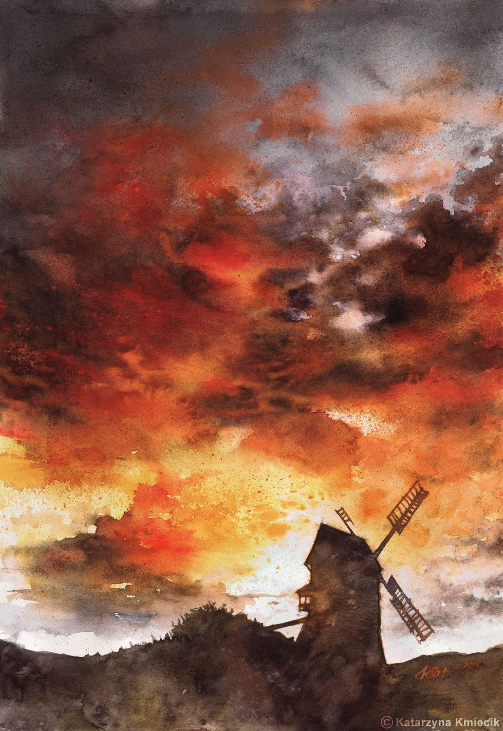 Sunset Sky Painting Watercolor Print Red Clouds Watercolor