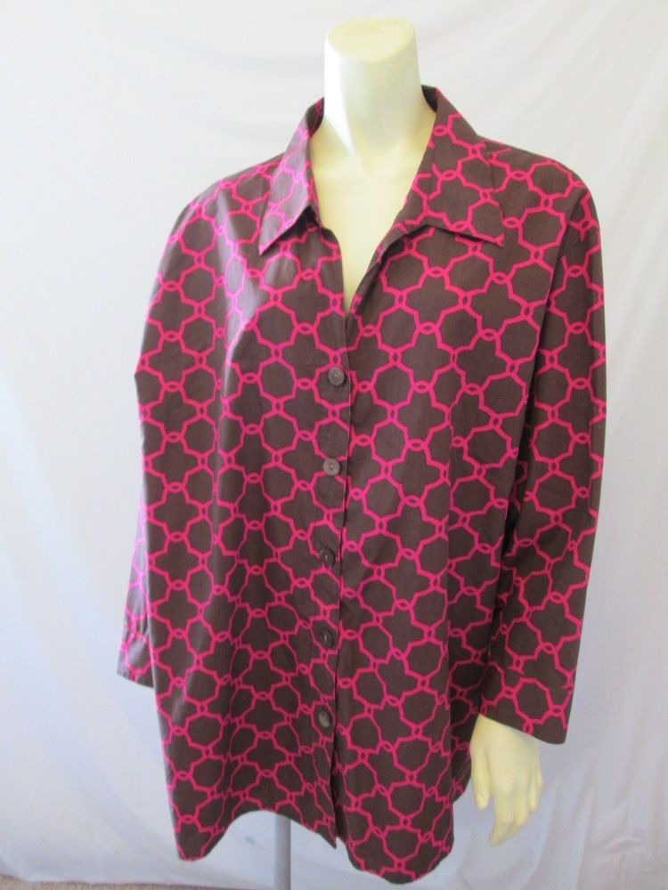 Foxcroft Plus Wrinkle Free Classic Fit 100% Cotton Pink Brown 3/4 Slv Shirt 24W #Foxcroft #ButtonDownShirt #Career