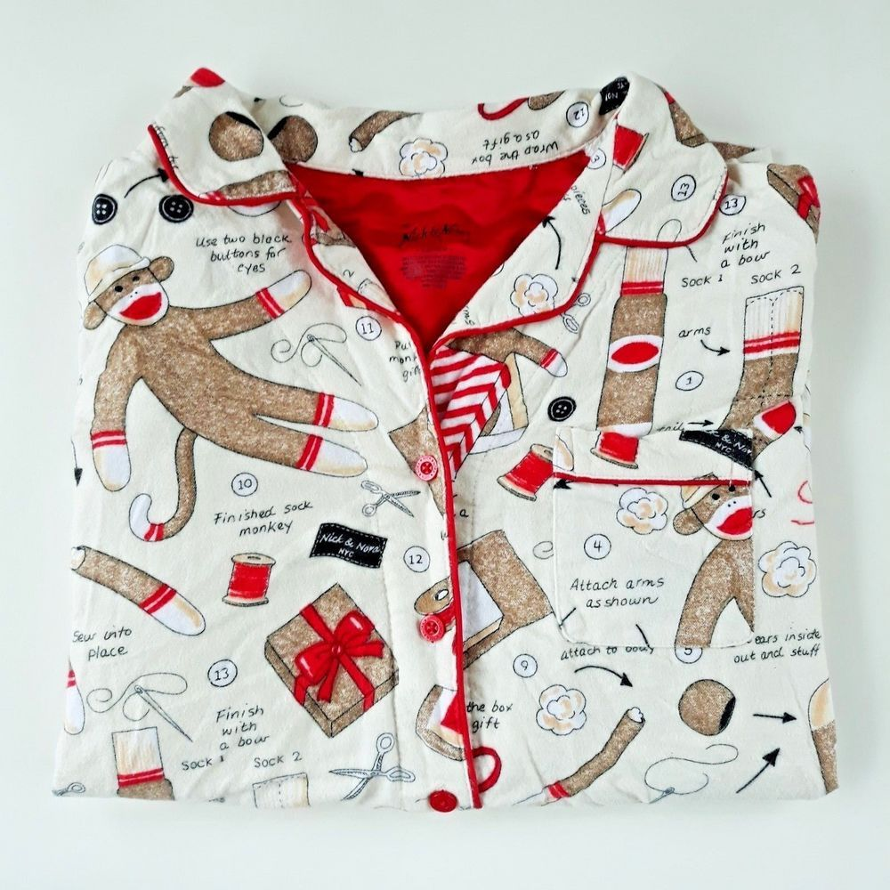 Nick Amp Nora Sock Monkey Pajama Top Button Front Flannel