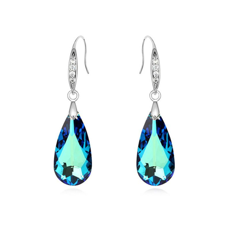 Crystal from Swarovski Luxury Teardrop Shape Drop Dangle Earrings for Woman Charm Brincos Jewelry Made with Swarovski Element