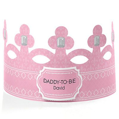 Pink - Daddy-To-Be-Crown - Personalized Baby Shower Gift | BigDotOfHappiness.com