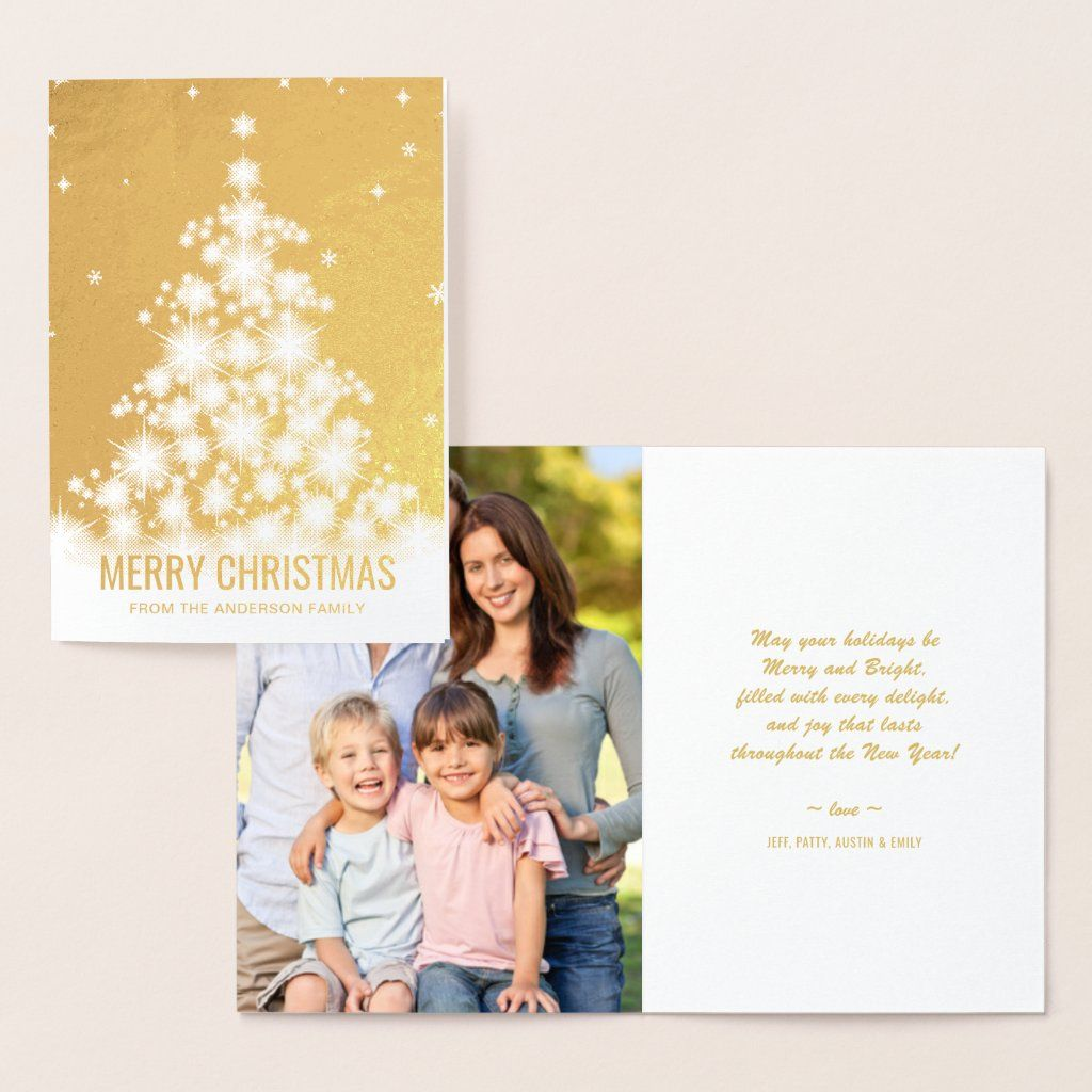 Elegant Foil Merry Christmas Tree Holiday Photo Foil Card