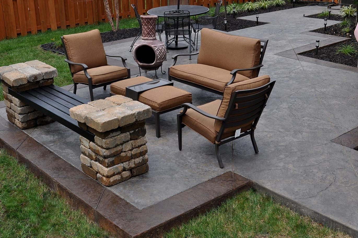 nice simple concrete patio designs with dynasty brown marble tile edging and old fashioned metal outdoor furniture sets also lots of led garden ground - Concrete Tile Garden Decor