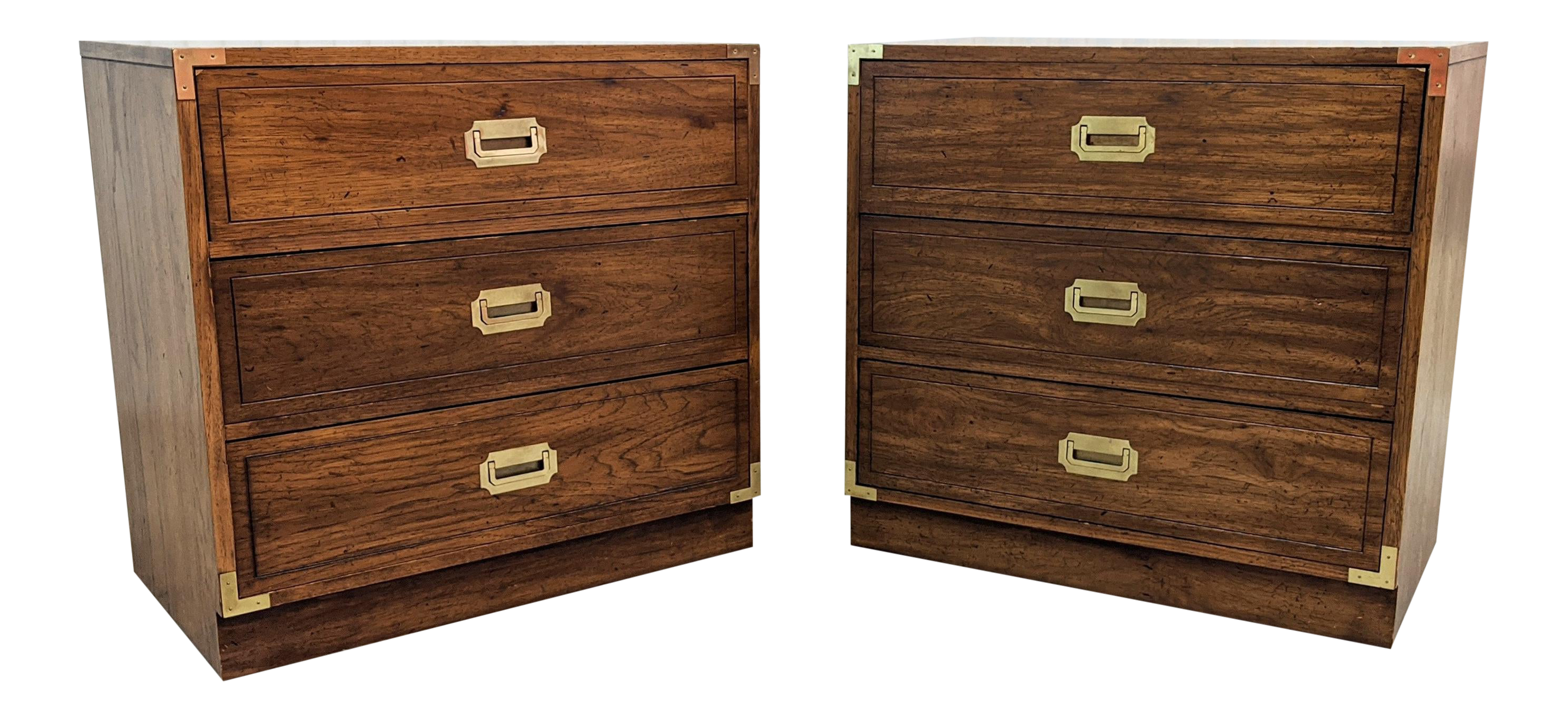 Mid Century Campaign Style 3 Drawers Chests A Pair In 2020 3 Drawer Chest Drawers Dixie Furniture